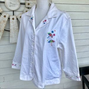 Playful Umbrella Embroidered Button Down Blouse